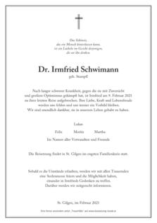 Dr. Irmfried Schwimann
