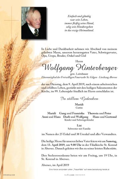 Wolfgang Hinterberger gew. Loitzbauer