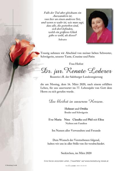 Frau Hofrat Dr. jur. Renate Lederer
