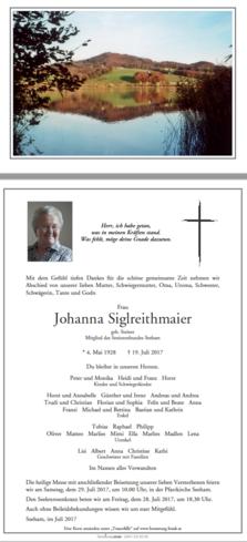 Johanna Siglreithmaier